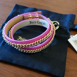 Juicy leather & chain wrap bracelet